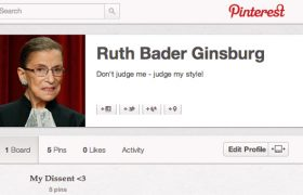 Ruth Bader Ginsburg Submits Dissenting Opinion via Pinterest Board