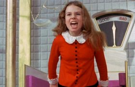 Female Willy Wonka Breaks Glass Ceiling In Front-Back-Slant-Ways Elevator