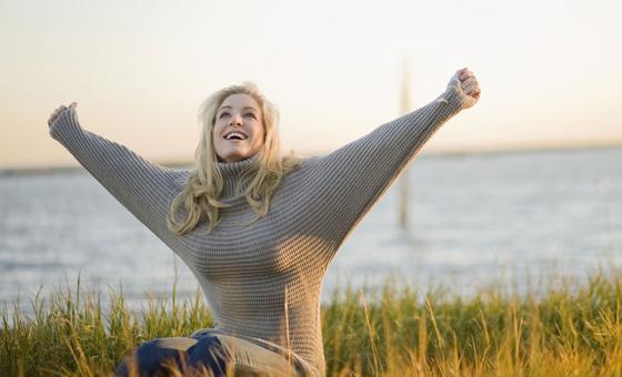 woman confident beach