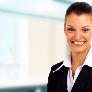 Positive-business-woman happy smile