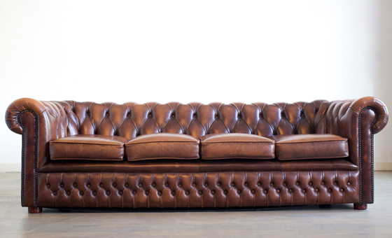 2 Long leather chesterfield sofa
