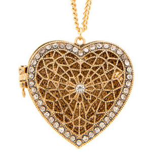 2. Antique Gold Crystal Accent Filigree Heart Locket Pendant Necklace