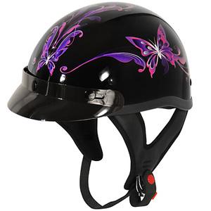 Outlaw T-70 Purple Butterfly Helmet - 39.95
