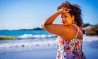 woman outside beach