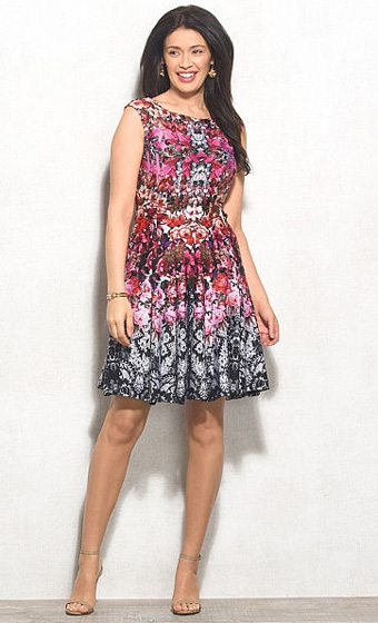 Abstract Floral Scuba Fit & Flare Dress