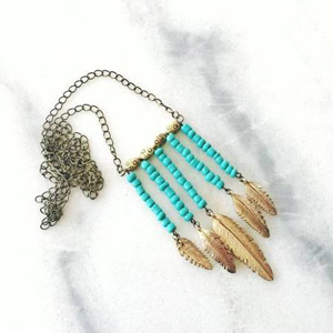 Turquoise bead and feather ETSY