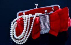red clutch purse fancy