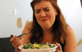 Woman Tragically Reaches Leaf-Only Part of Salad