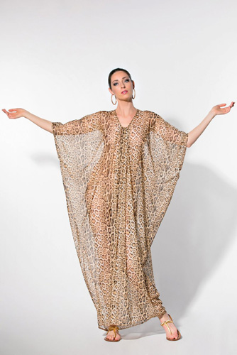 Leopard Caftans for Delicately Whispering, 'Where Are My Cigarettes?'