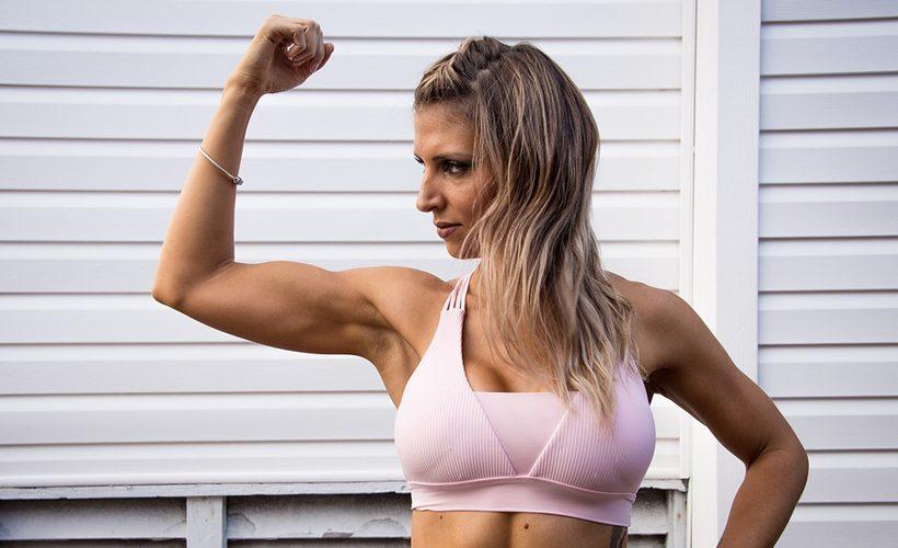 woman flexing arm