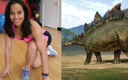 A woman exercising and a stegosaurus
