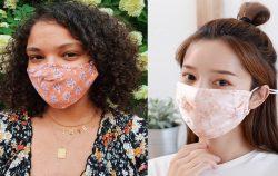 two women wearing patterned face masks