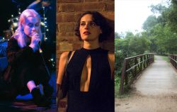side by side of Phoebe Bridgers siging, Phoebe Waller-Bridge, and a small bridge