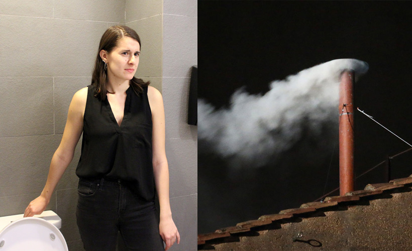 woman in bathroom side by side with white smoke