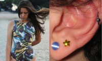 a woman alongside a photo of an ear