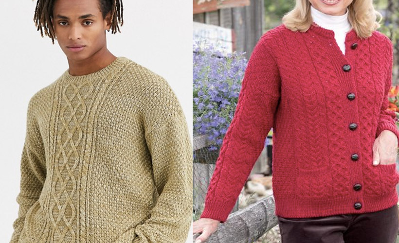 two models wearing boxy knit sweaters