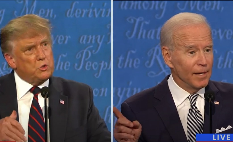 presidential debate with joe biden and donald trump speaking