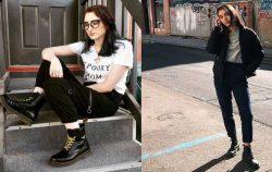 side by side of two women modeling doc martens