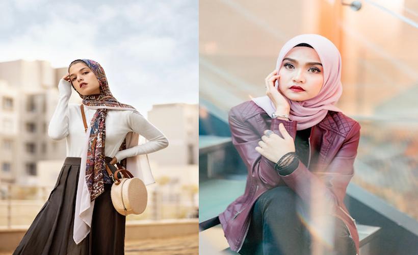 side by side of two women modeling hijab styles
