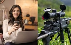 woman looking at phone pic next to sniper rifle pic