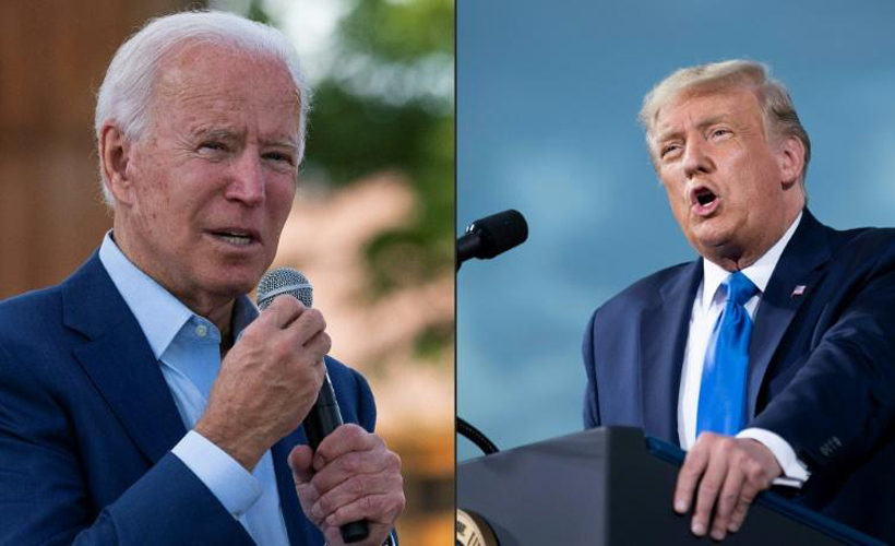 side by side of joe biden and trump talking
