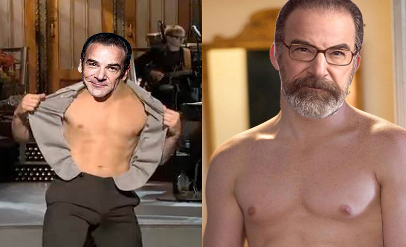 two side by side pictures of channing tatums body with mandy patinkin's head on top