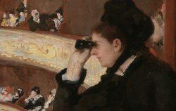painting of woman using opera glasses