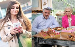 woman on phone next to Great British Bake off Judges