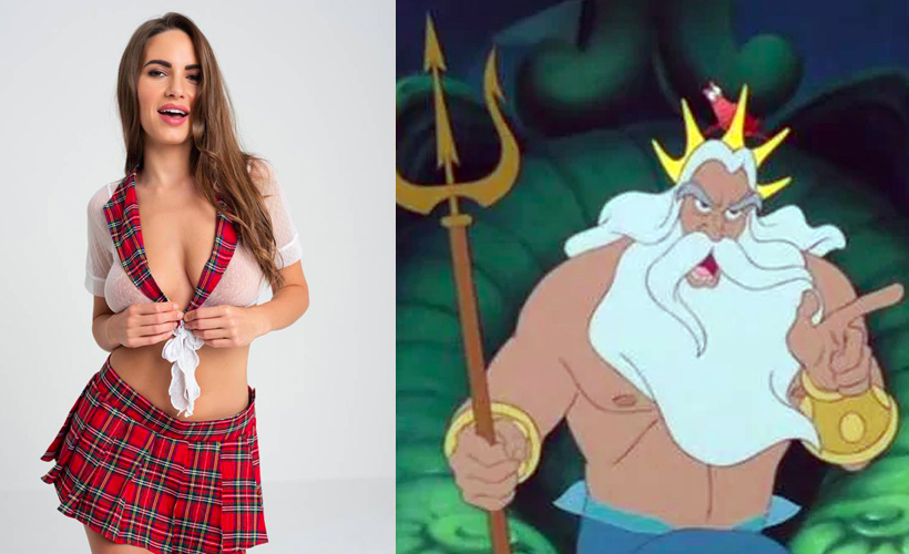 schoolgirl outfit next to ariel's dad from the little mermaid