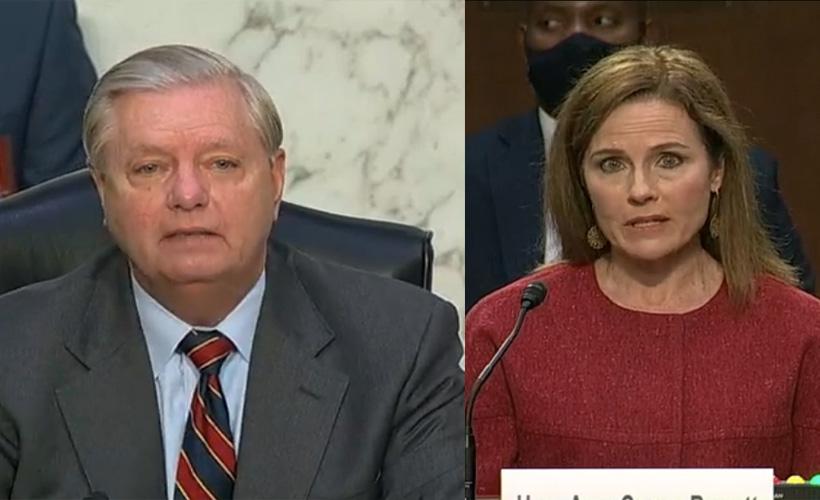 lindsey graham and amy coney barrett at senate confirmation hearing