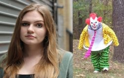 serious woman next to clown running in woods