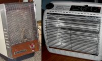 two side by side space heaters