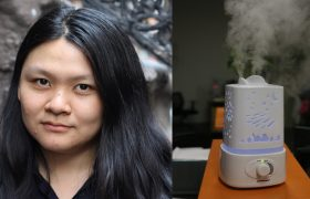 woman next to humidifier