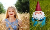 girl in field next to travelocity gnome