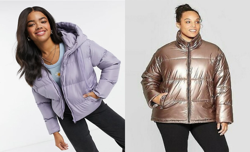 two models wearing puffer jackets