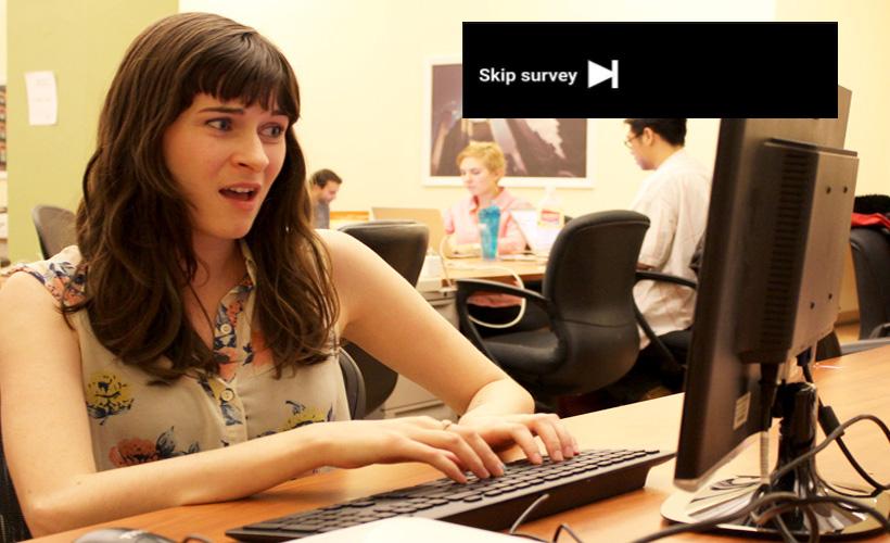 woman scoff computer youtube survey
