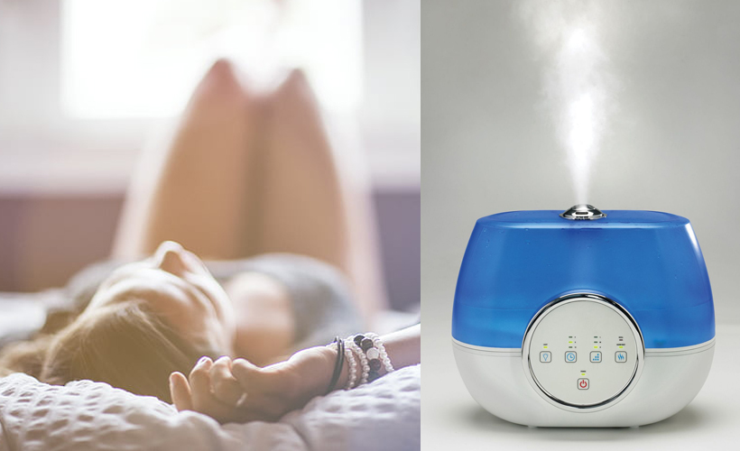 woman and humidifier