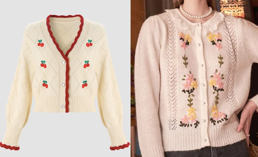 embroidered cardigans