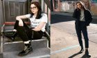 side by side of two women modeling doc martens